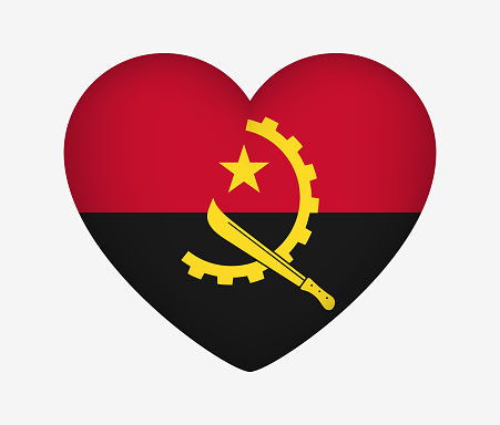 Heart Shaped National Flag of Angola. I Love My Country. Vector Isolated Illustration