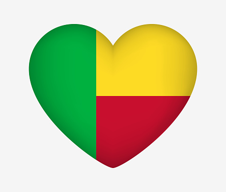 Heart Shaped National Flag of Benin. I Love My Country. Vector Isolated Illustration