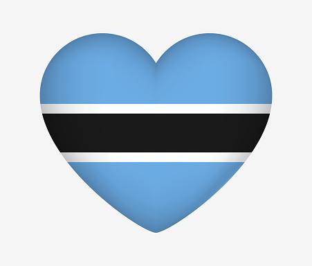 Heart Shaped National Flag of Botswana. I Love My Country. Vector Isolated Illustration