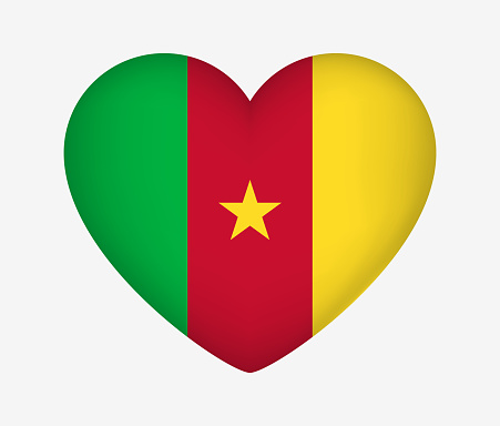 Heart Shaped National Flag of Cameroon. I Love My Country. Vector Isolated Illustration