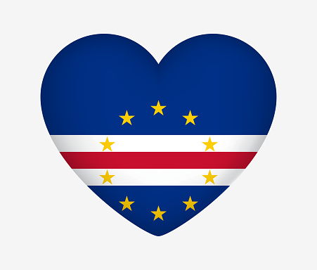 Heart Shaped National Flag of Cape Verde. I Love My Country. Vector Isolated Illustration