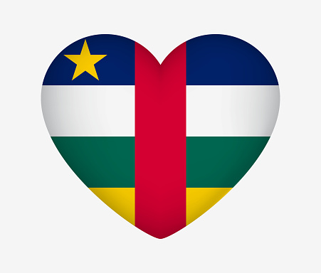 Heart Shaped National Flag of Central African Republic. I Love My Country. Vector Isolated Illustration