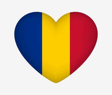 Heart Shaped National Flag of Chad. I Love My Country. Vector Isolated Illustration