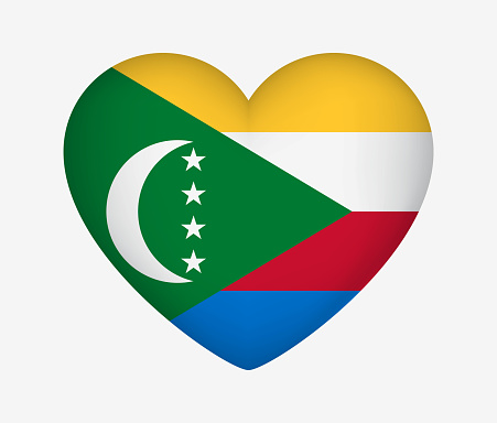 Heart Shaped National Flag of Comoros. I Love My Country. Vector Isolated Illustration