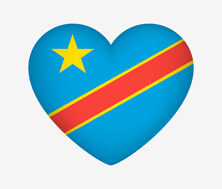 Heart Shaped National Flag of Democratic Republic of the Congo. I Love My Country. Vector Isolated Illustration