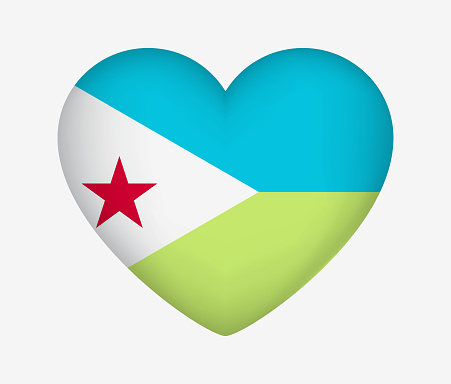Heart Shaped National Flag of Djibouti. I Love My Country. Vector Isolated Illustration