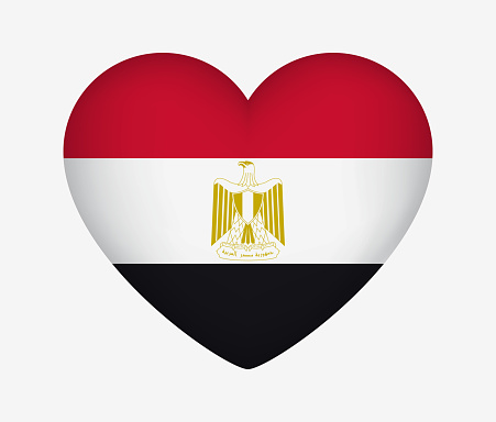 Heart Shaped National Flag of Egypt. I Love My Country. Vector Isolated Illustration