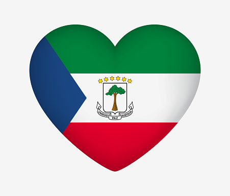 Heart Shaped National Flag of Equatorial Guinea. I Love My Country. Vector Isolated Illustration