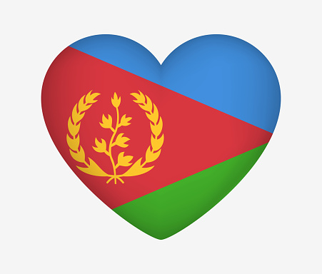 Heart Shaped National Flag of Eritrea. I Love My Country. Vector Isolated Illustration
