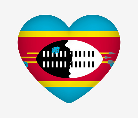 Heart Shaped National Flag of Eswatini. I Love My Country. Vector Isolated Illustration