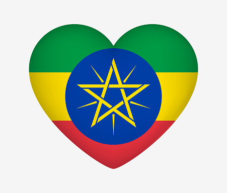 Heart Shaped National Flag of Ethiopia. I Love My Country. Vector Isolated Illustration