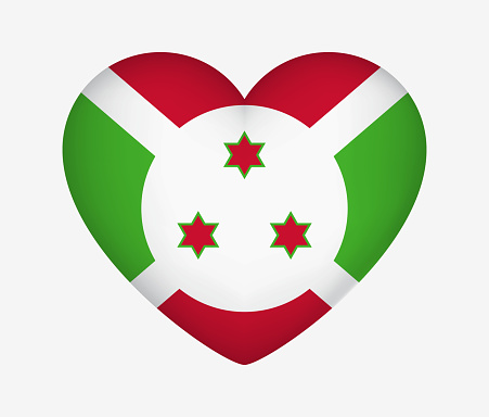 Heart Shaped National Flag of Flag of Burundi. I Love My Country. Vector Isolated Illustration