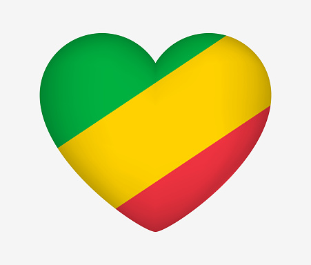 Heart Shaped National Flag of Republic of the Congo. I Love My Country. Vector Isolated Illustration