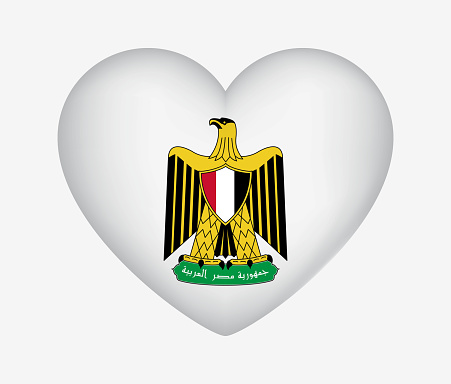 Heart Shaped National Symbol of Egypt. Coat of Arms. I Love My Country. Vector Illustration