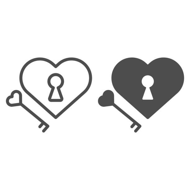 illustrazioni stock, clip art, cartoni animati e icone di tendenza di lucchetto a forma di cuore e linea chiave e icona solida. blocco e chiave nell'illustrazione a forma di cuore isolata su bianco. lucchetto di san valentino e design dello stile del contorno chiave, progettato per web e app. eps 10. - near