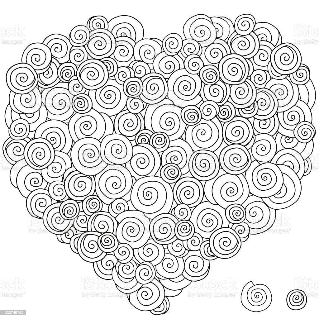 En Forma De Corazón Patrón Para Colorear Libro Mano Dibujado ...