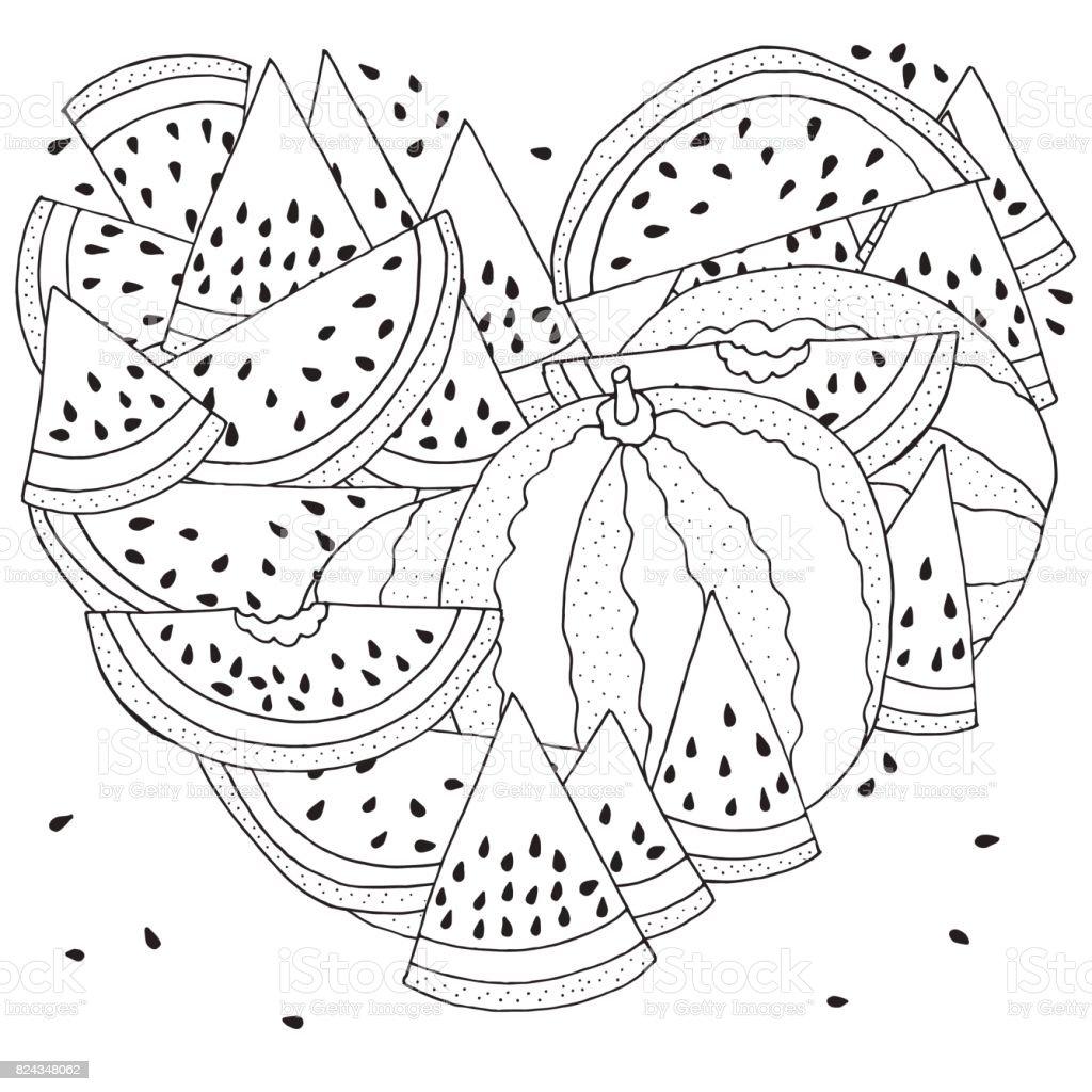 Kalp Karpuz Ile Boyama Deseni şeklinde Siyah Ve Beyaz Vektör çizim