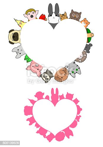 heart shaped pet animals border set
