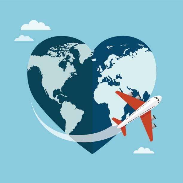 Corazón en forma de planeta tierra - ilustración de arte vectorial