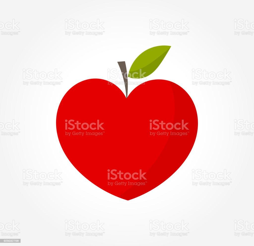 Heart shaped red apple vector art illustration