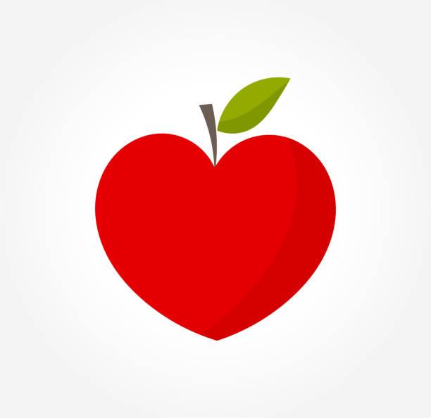 illustrazioni stock, clip art, cartoni animati e icone di tendenza di heart shaped red apple - mela