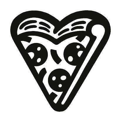 Heart Shaped Slice of Pizza
