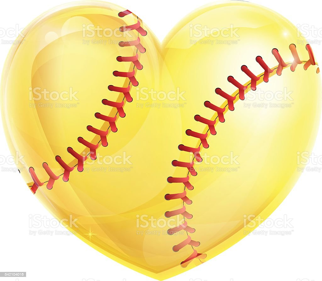 Heart Shaped Softball vector art illustration