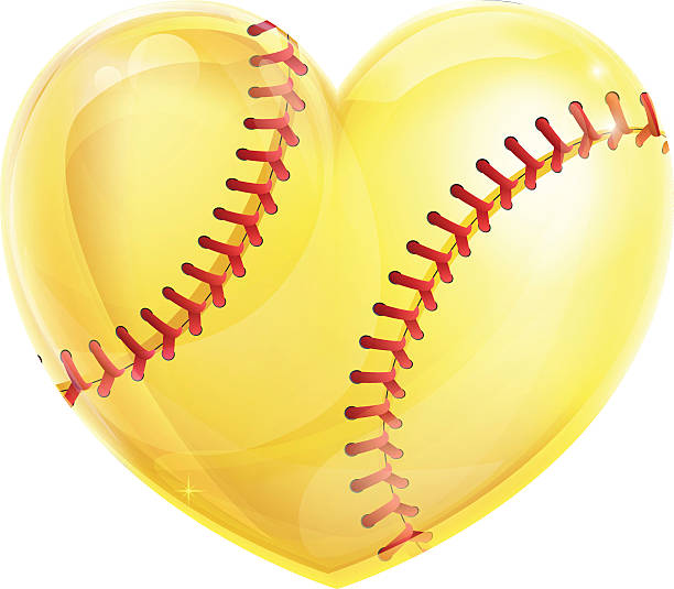 heart shaped softball - softball stock illustrations, clip art, cartoons, & icons