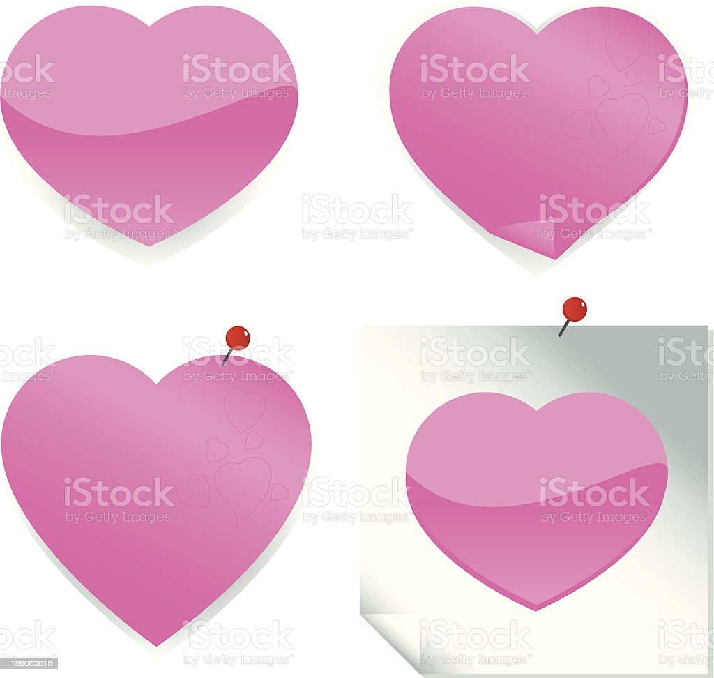 Heart Shaped Stickers And Post It Notes Stock Vector Art & More ...