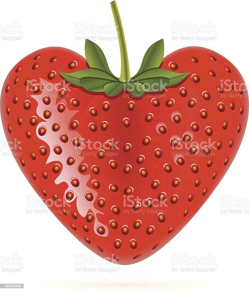 Heart Shaped Strawberry royalty-free stock vector art