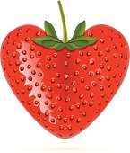 Illustration of a Heart Shaped Strawberry (Pdf(6) and Ai(8) files are included)