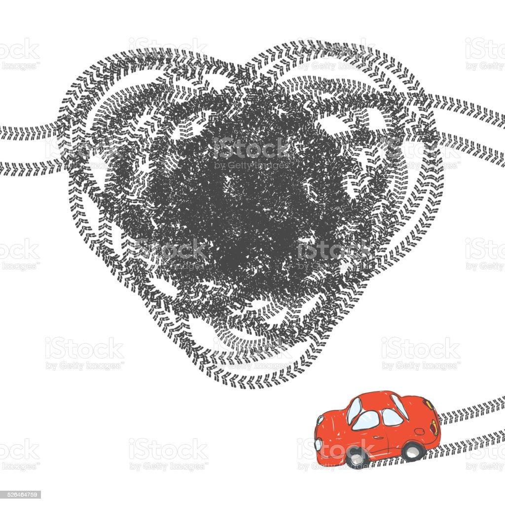 Heart shaped tire trace. Vector, EPS8 vector art illustration