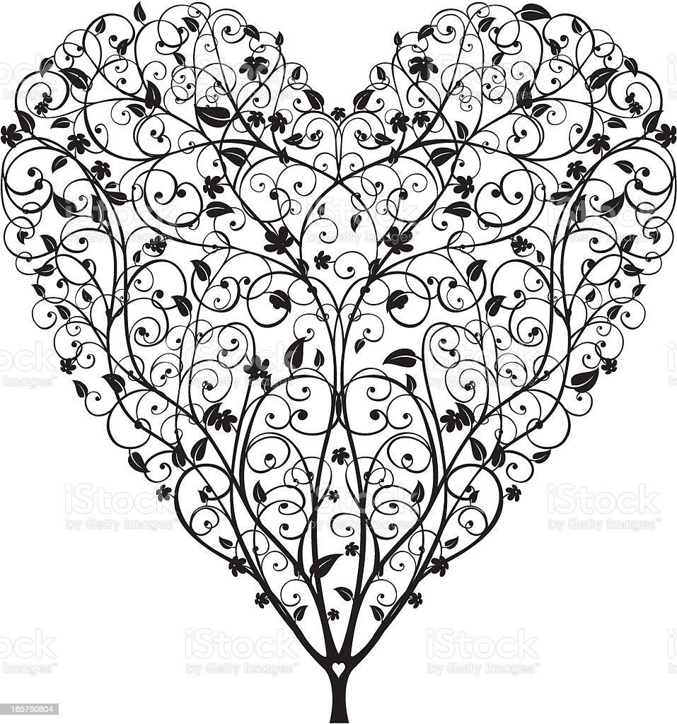 Heart Shaped Tree vector art illustration