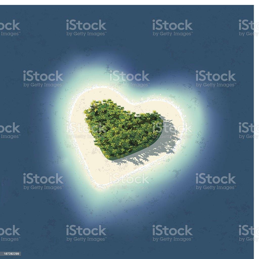 Heart Shaped Tropical Island vector art illustration