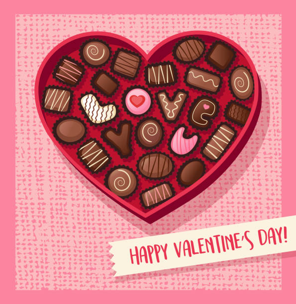 심장 모양의 초콜릿 bonbons 사랑 철자와 발렌타인 데이 사탕 상자. 벡터 일러스트입니다. - 초콜릿 stock illustrations