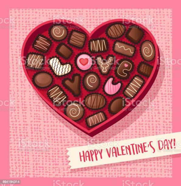 Boite De Bonbons De Saint Valentin Avec Des Bonbons Au Chocolat Qui Sort Love You En Forme De Coeur Illustration Vectorielle Vecteurs Libres De Droits Et Plus D Images Vectorielles De Banniere Animee