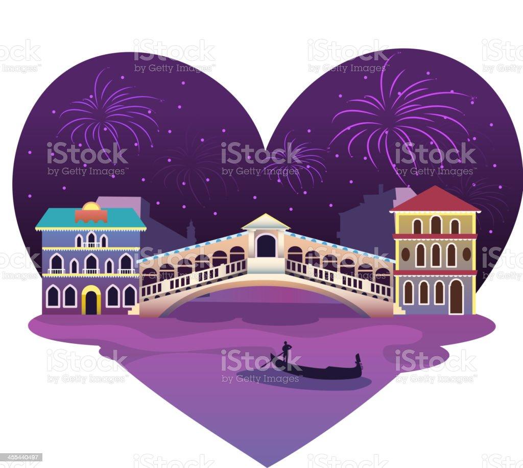 Heart shaped Venice View royalty-free stock vector art