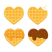 Heart shaped Belgian waffles. Plain, with chocolate and syrup. Cute cartoon vector illustration set.