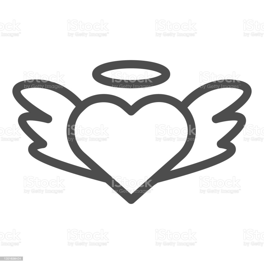 Heart Shaped With Angel Wings Line Icon Romantic Heart With Wings Illustration Isolated On White Heart Wings Fly Valentine Day Symbol Outline Style Design Designed For Web And App Eps 10 Stock
