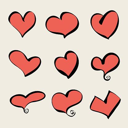 Heart shapes cartoon drawings
