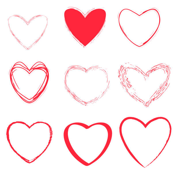 Heart shapes collection vector art illustration