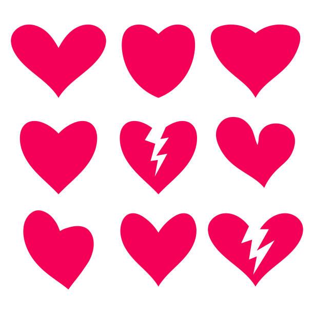 stockillustraties, clipart, cartoons en iconen met hart shapes-collectie - liefdesverdriet