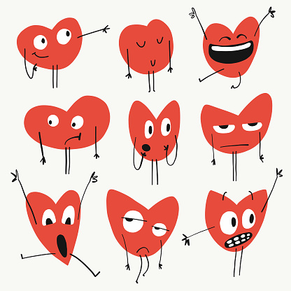 Heart shapes emoticons