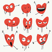 Vector illustration of a set of heart shaped emoticons