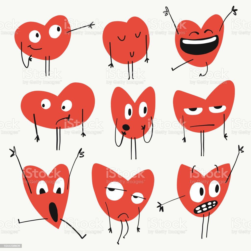 Émoticônes de formes de coeur - Illustration vectorielle