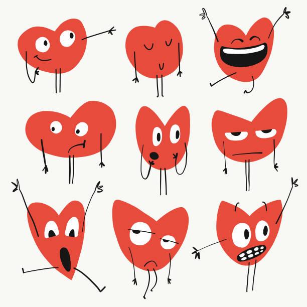 Heart shapes emoticons Vector illustration of a set of heart shaped emoticons affectionate stock illustrations