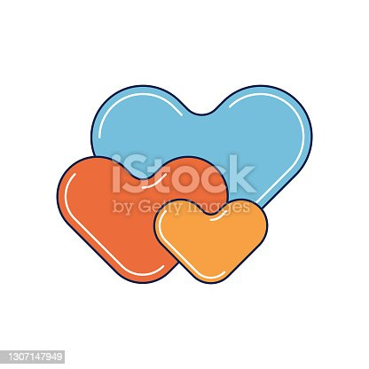 Vector illustration of a set of heart shapes with retro style colors. Cut out design elements on a white background. Colors are global for easier edits.