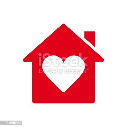 istock Heart sign in house icon, ed icon, love home symbol stock illustration 1201698934