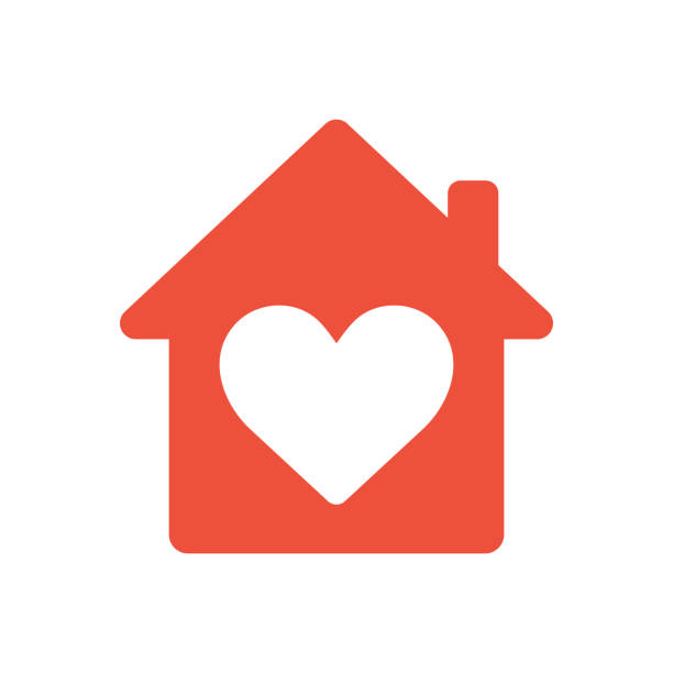 Heart sign in house icon, ed icon, love home symbol Heart sign in house red icon, love home symbol, vector illustration isolated on white background house stock illustrations