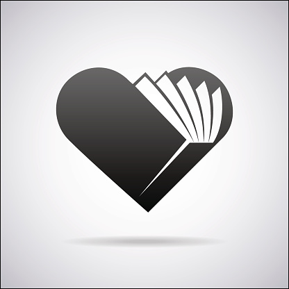 Heart sign in shape of opened book